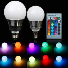 New 5W/10W E27/E14 RGB LED Bulb Light Color Changing Lamp+Remote Control 85-265V