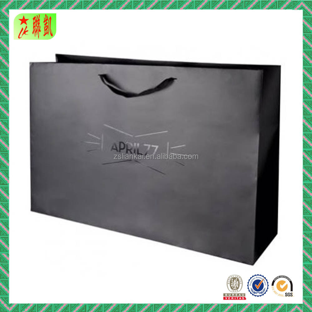 Glossy Black UV Logo Paper Shopping Bag for Clothes