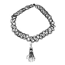 Fashion Jewelry Black Tattoo Choker Necklace Elastic With Antique Silver Skull Hand Pendants 30.0cm longs