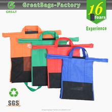 packing sorted reusable trolley shopping bag, foldable trolley bag supermarket