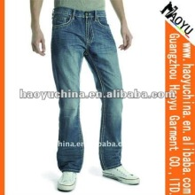 2015 stylish factory wholesale price for wrinkled wash jeans men light blue boot cut jeans (HY1652)