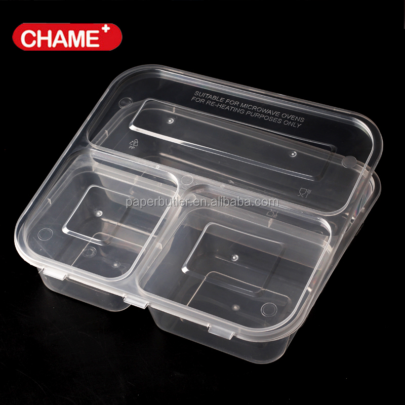 PP plastic meal lunch box 3 compartment disposable takeaway food container