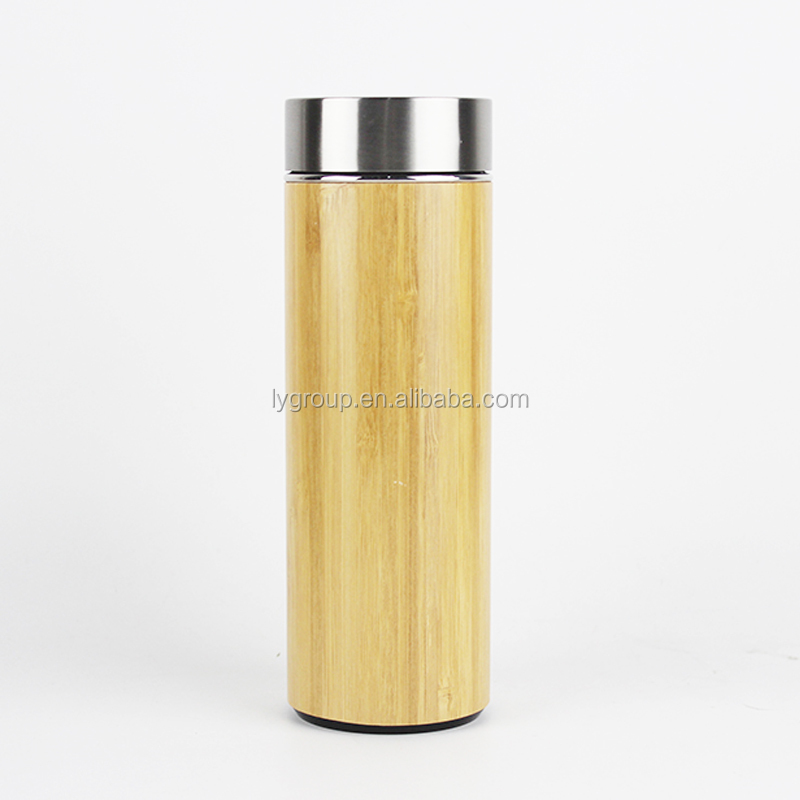 NEW Double wall stainless steel bamboo tea thermo bottle with bamboo lid,Natural Bamboo Vacuum Insulated bottle with tea infuser