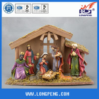 Christmas Resin Nativity Wood House and Figurines Set ,Holy Family Figurine