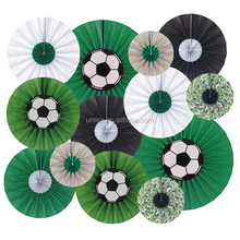 UMISS PAPER New Design 13pcs Sports Theme Backdrop Soccer Party Handmade Paper Fans Decorations
