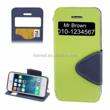 New product Cross Texture Horizontal Flip Magnetic Buckle Leather Case with Call Display ID & Card Slots & Holder for iPhone 5S