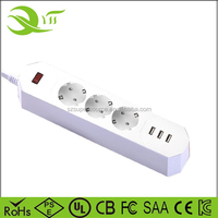 EU plug 3 USB Charging Ports Power Strip Standard Plug with 3 Sockets Electrical Plugs Adapters