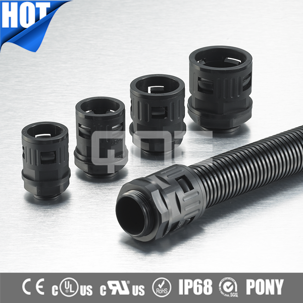 IP54 Corrugated Electrical Flexible Plastic Conduit Connector