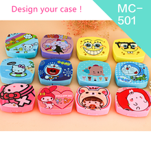 Eye Care Colored Contact Solution Lenses Case, Cute Pink Traveling Contact Lens Box