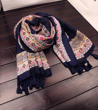New Arrival Print Geometric Figure Cotton Long Shawls Muslim Women Printed Hijab Scarf Wrap With Tassels