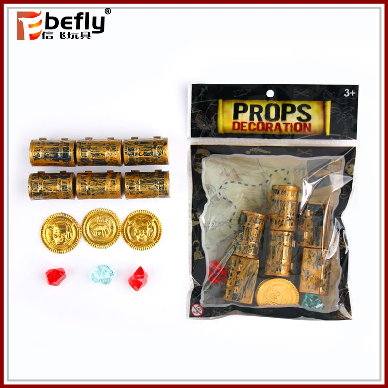 Treasure box gold coin diamond pirate toy set