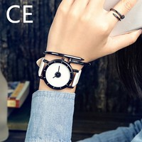 Free Shipping China Lady And Man Leather Big Black Or White Color Dial Fashion Watch wh30122