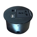 Round sharp table mount socket outlet with USB, network, power