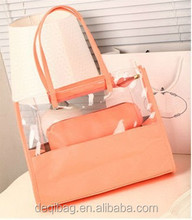 Fashion Clear PVC two sets new style 2013 beach tote shoulder handle woman bag