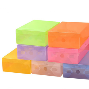 Fashion Transparent Color Plastic Shoes Storage Boxes Foldable Stackable Large Shoe Organizer