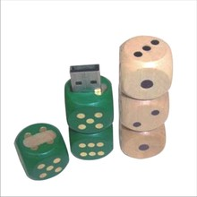 USB Stick 8 GB Dice Natural Wood Play Dice green golden flash drive