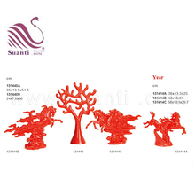 Decorative wedding souvenir red resin horse and trees decoration