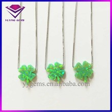 Green Opal Silver Jewelry Clover Shape Synthetic Opal Silver Necklace for Gift