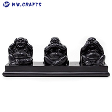 Three Wise Buddhas Hear No Evil Speak No Evil See No Evil Lovely Laughing Buddha Ornament in Black Ebony Effect Resin