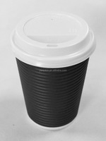 Disposable Insulated Ripple Eco-friendly Paper Hot Coffee Cups With Lid