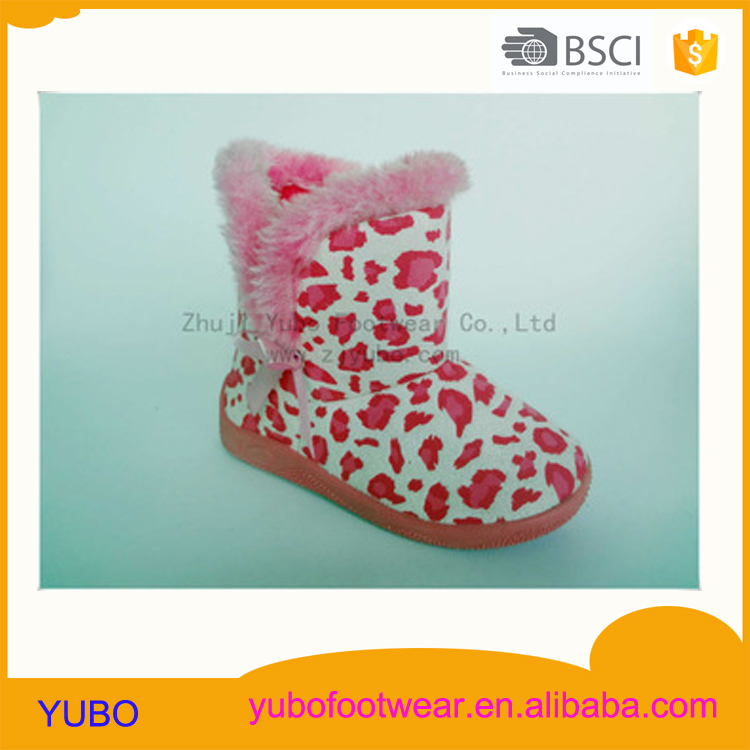 Fashion winter girls baby boots with leopard print