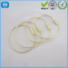 Gold Color Stainless Steel Wire Keychain Cable Key Ring