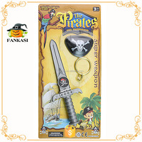 Kids plastic pirate play set sword telescope hook earring pirate toy