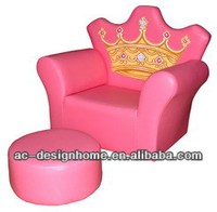 PINK PVC/WOODEN CROWN KID ONE SEAT SOFA W/OTTOMAN