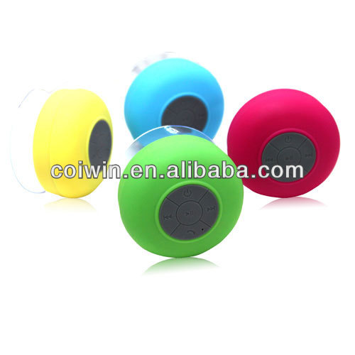 with bluetooth round shower speaker,small four color suction cup speaker fit for mpe/laptop/PC/smartphone/computer