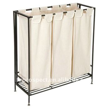Triple laundry sorter with metal frame buy laundry sorter triple laundry sorter laundry hamper - High end laundry hamper ...