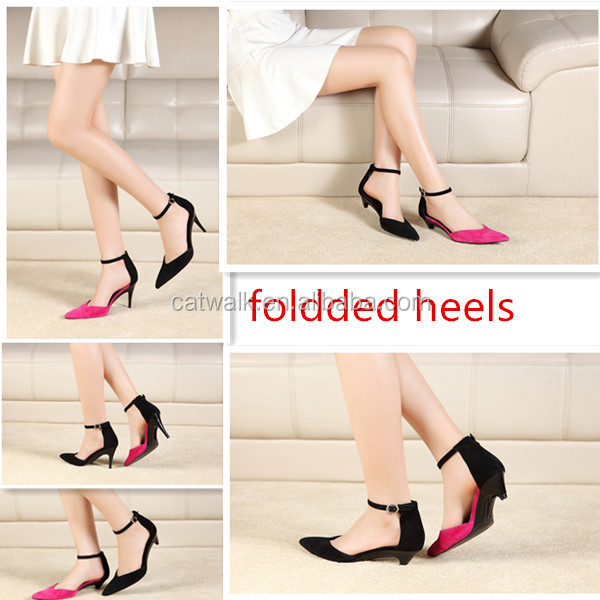 2016 new arrival detachable heel shoes high heel shoes