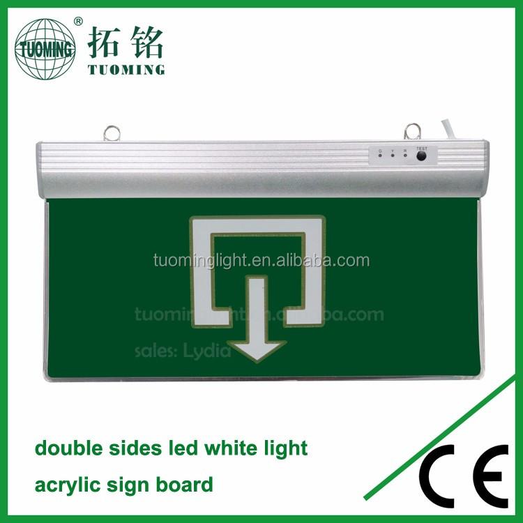 acrylic+aluminium rechargeable lamps led emergency lights exit sign