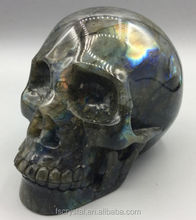 Wholesale natural carved stone Labradorite skull quartz crystal skulls