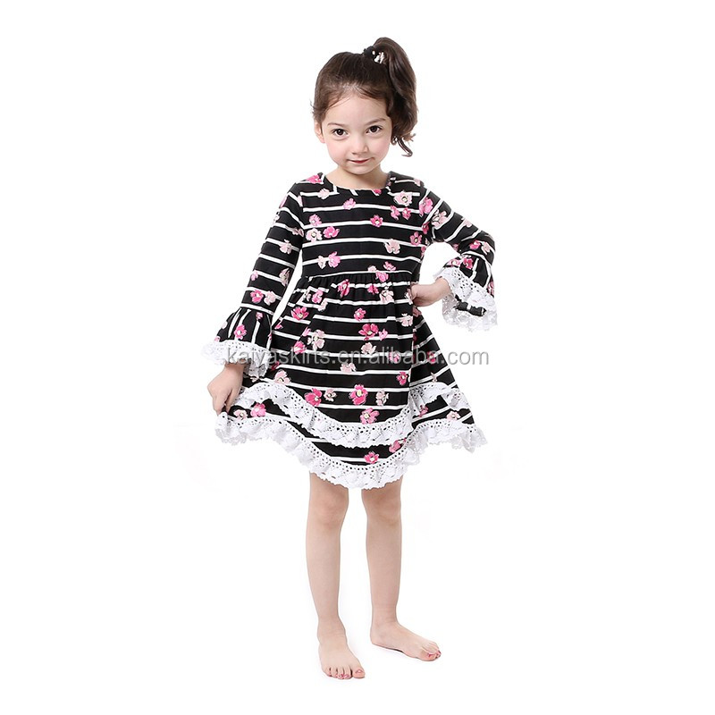 the latest toddler kids fashion big black and white stripe floral cotton lace bottom dresses girls cocktail party dresses