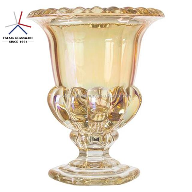 FALAJA amber color flower glass vase crystal vase for flower or water planting