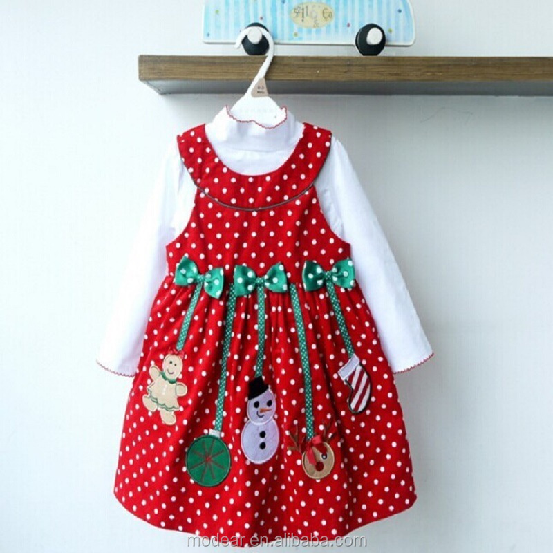 Christmas clothing for Girls Long Sleeve Shirt Dot Dress dotted skirt Snowman Set