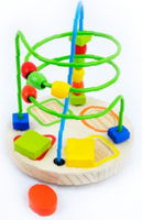 novelty educational wooden mini track rail maze,small round beads fancy animal toy beads toy
