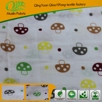 High quality competitive price 100% cotton printed muslin fabric for garment