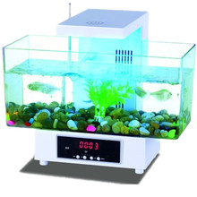 Usb Mini Fish Tank Desktop Electronic Aquarium Mini Fish Tank with Water Running LED Pump Light Calendar Clock