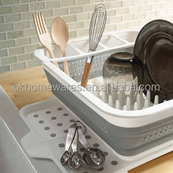 Plastic Collapsible Dish Rack Drainer Rack Collapsible Dish Rack With Drain Board