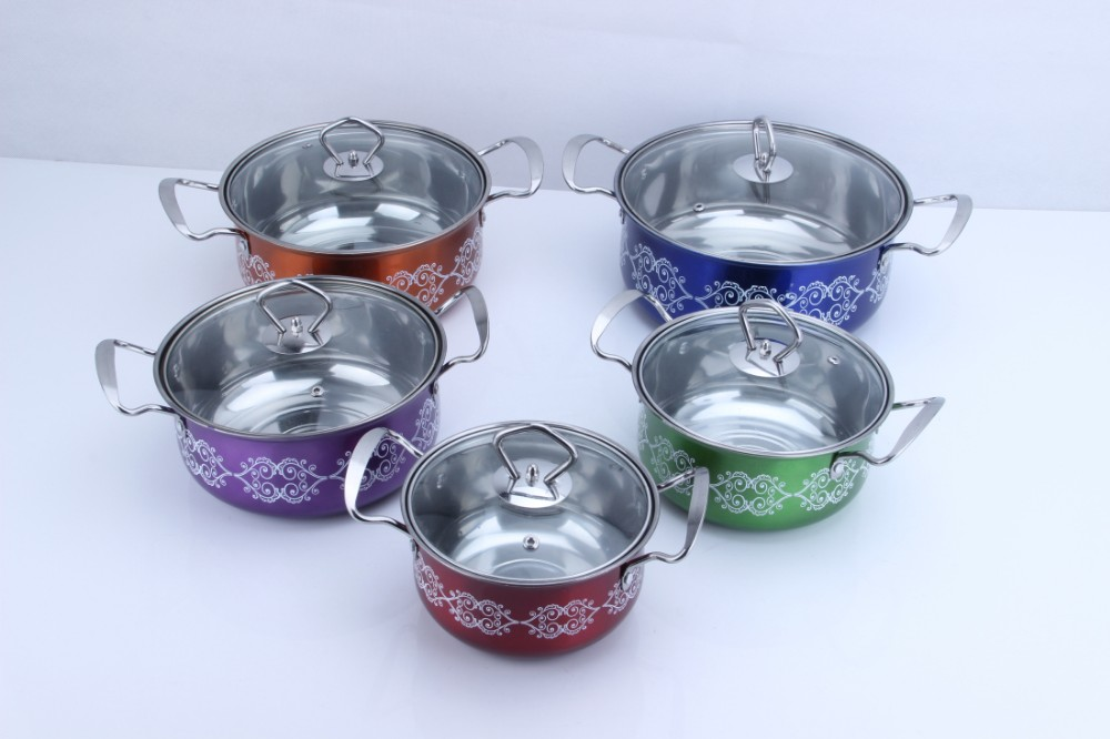 5pcs multicolor 410 stainless steel soup pot cookware set for kitchen
