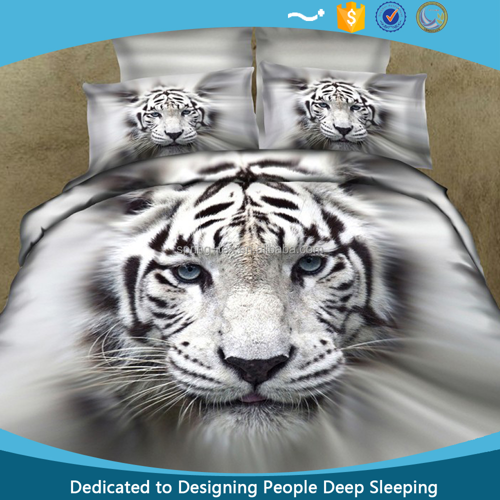 3D Animal Series White Tiger Reactive Printed Cotton Bed Sheets 3D from China 11Years Factory