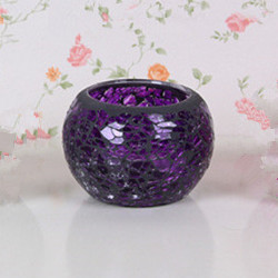 <strong>Wedding</strong> & Christmas Decoration Purple Mosaic Glass Candle Holder