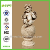 OEM Cupid Sitting Ball and Dove Polyresin Angel Wing Craft