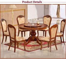 2016 solid wood dining round table/chair Royal palace home dining furniture, solid wood round dining table and chair