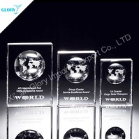Good Quality Creative Clear Crystal Globe Shield Trophy