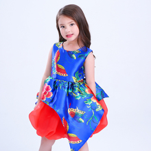 Newest nice flower cotton toddler party girl dress