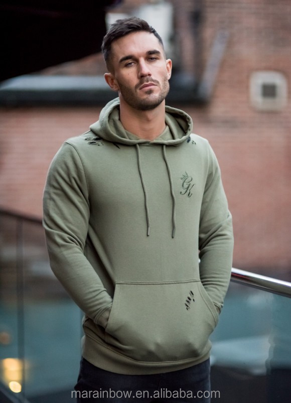 Olive Distressed Mens Pullover Hoodie 70% Cotton 30% Polyester Fleece Hoodie Tracksuit Top Fitted Gym Hoodie OEM