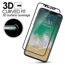 Ultra thin 9H 3D clear carbon fiber tempered glass screen protector for iphone X Full Coverage Edge to Edge Tempered Glass sheet