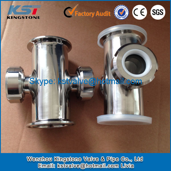 Chinese manufacturer High pressure sanitary ss304 tri clamp cross with union sight glass 1.5""